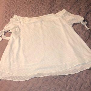 Sheer white polka dot blouse 22/24W Cato